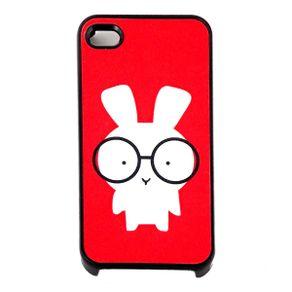 Capa-para-Iphone-4-Coelhinho-de-Oculos-Vermelha-com-Purpurina