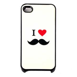 Capa-para-Iphone-4-I-Love-Mustache-Branca-com-Purpurina