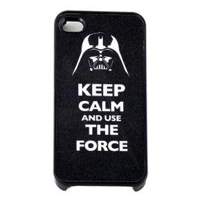 Capa-para-Iphone-4-Keep-Calm-and-Use-the-Force-Preta-com-Purpurina