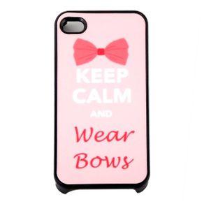 Capa-para-Iphone-4-Keep-Calm-and-Wear-Bows-Rosa-com-Purpurina
