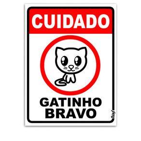 Placa-Cuidado-Gatinho-Bravo