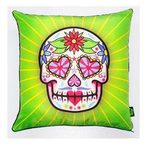 Almofada-Caveira-Dia-dos-Mortos-Mexicano-Verde