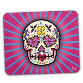 Mouse-Pad-Caveira-Mexicana-Dia-dos-Mortos-Rosa