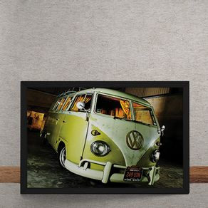 Carro-Volkswagen-Kombi-Branco-e-Amarelo-tecido