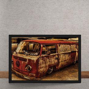 Carro-Volkswagen-Kombi-Vermelha-Rebaixada-Destruida-tecido