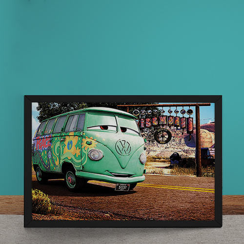 Quadro Decorativo Carro Volkswagen Kombi Filme Disney 25x35