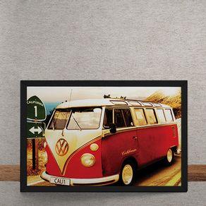 Carro-Volkswagen-Kombi-Branca-Vermelha-California-tecido