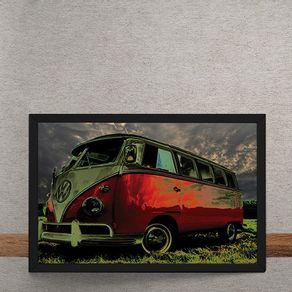 Carro-Volkswagen-Kombi-Branca-Vermelha-Grama-tecido