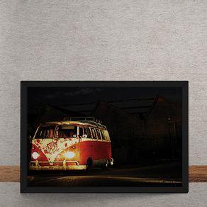 Carro-Volkswagen-Kombi-Branca-Vermelha-Farol-tecido