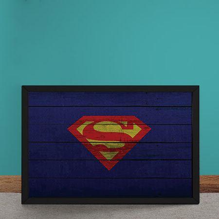 Quadro Decorativo Super Homem Logo Mural Minimalista DC Comics