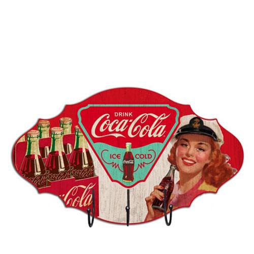 Favoloso Cabideiro Coca Cola Pin Up e Garrafas - Gorila Clube SK74