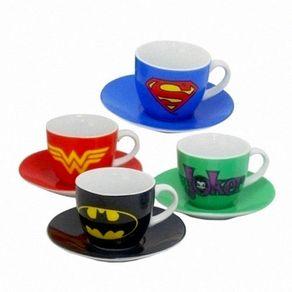 Conjunto de 4 Xícaras com Pirex Super Heróis DC Comics