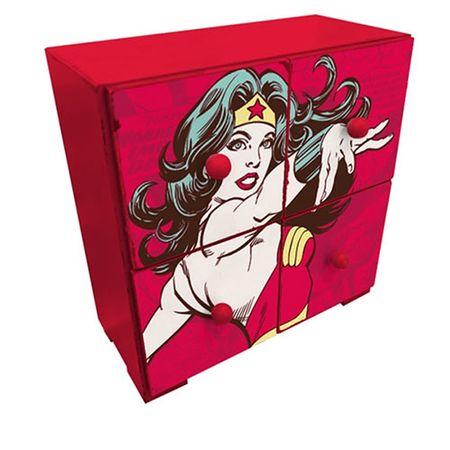 Gaveteiro de Mesa Mulher Maravilha Vermelho Quadrinhos HQ DC Comics