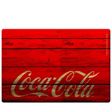 Kit Jogo Americano e Porta Copos Coca Cola Madeira Vermelha - 4 Peças