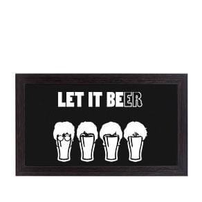 Quadro Porta Tampinhas de Cerveja Horizontal The Beatles Let it Beer Faces