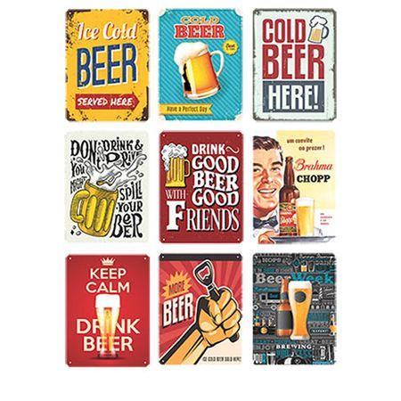 Kit Placas Decorativas em MDF Colecionador Cervejeiro Cerveja - 9 unidades