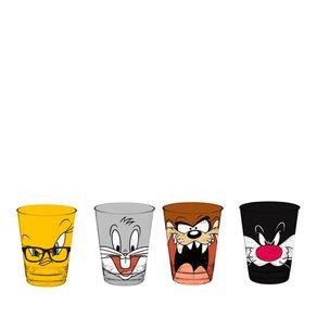 Copo Caldereta de Vidro Looney Tunes - 4 Unidades