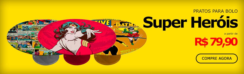 Pratos para Bolo Criativos de                   Super Heróis