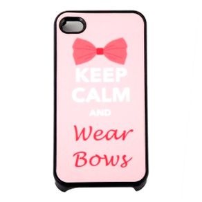 Capa para Iphone 4 Keep Calm and Wear Bows Rosa com Purpurina
