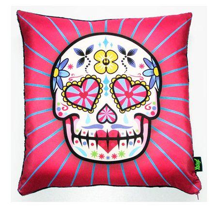 Almofada Caveira Dia dos Mortos Mexicano Rosa