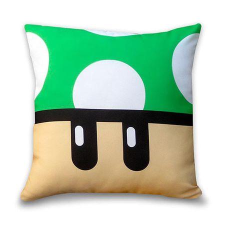 Almofada Cogumelo Verde Super Mario Bros Quadrada