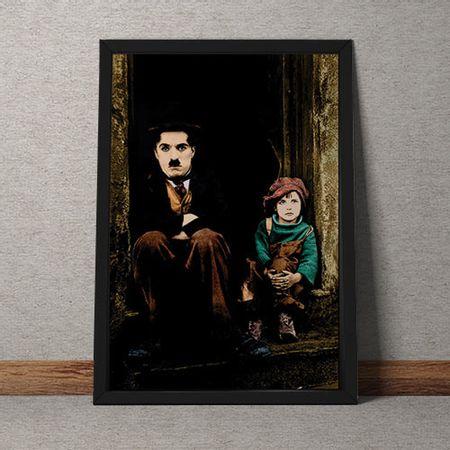 Quadro Decorativo Charles Chaplin E Menino Sentados Na Escada