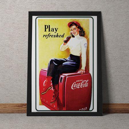 Quadro Decorativo Coca Cola Refrescante Vintage