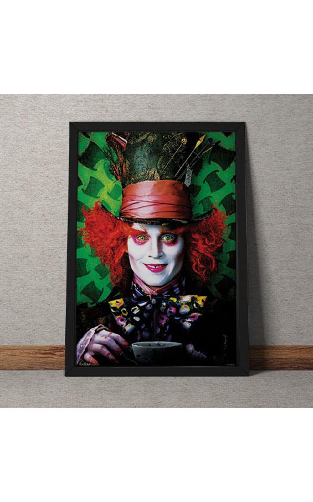 Foto 1 - Quadro Decorativo Johnny Depp Chapeleiro Maluco Alice No Pais Das Maravilhas