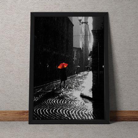 Quadro Decorativo Guarda Chuva Vermelho