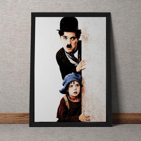 Quadro Decorativo Charles Chaplin E Menino Colorido