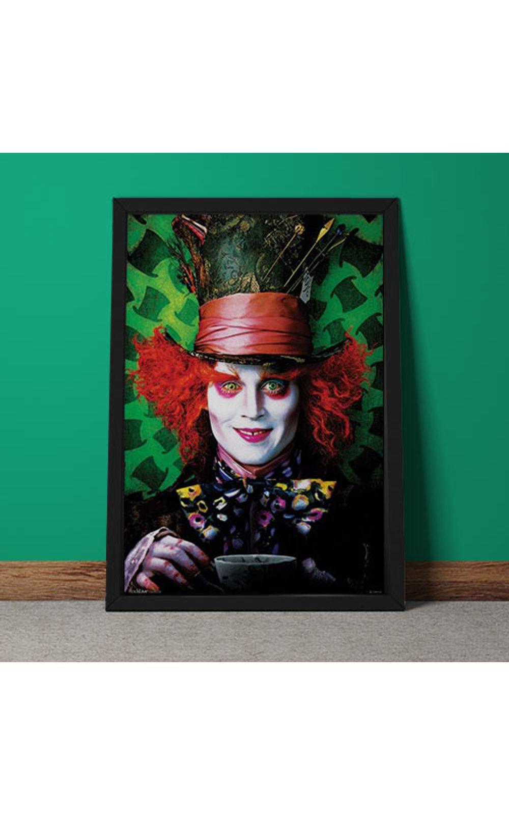 Foto 3 - Quadro Decorativo Johnny Depp Chapeleiro Maluco Alice No Pais Das Maravilhas