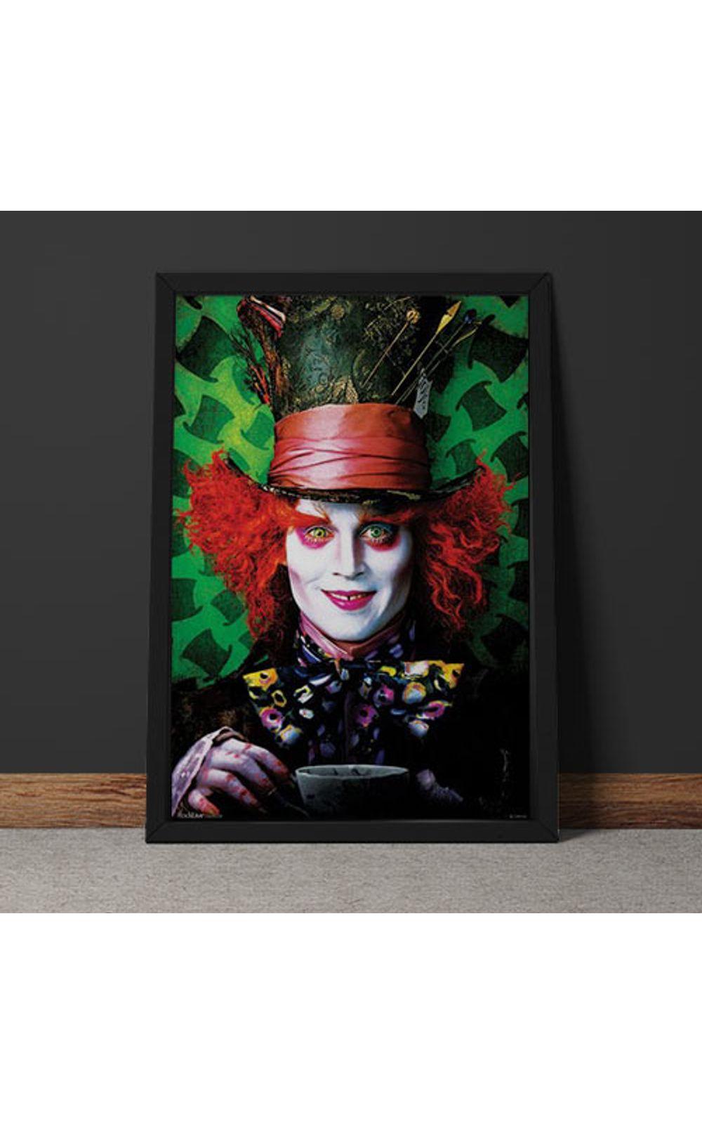 Foto 4 - Quadro Decorativo Johnny Depp Chapeleiro Maluco Alice No Pais Das Maravilhas
