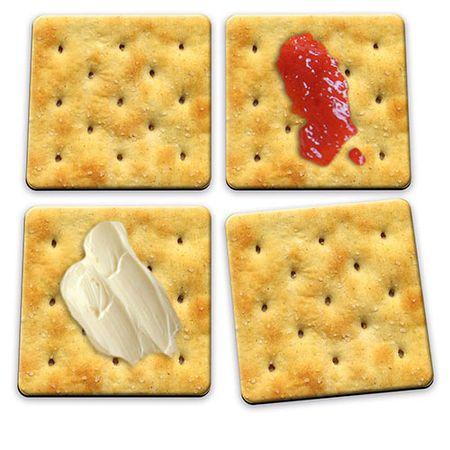 Porta Copos Biscoito Cream Cracker - 4 peças