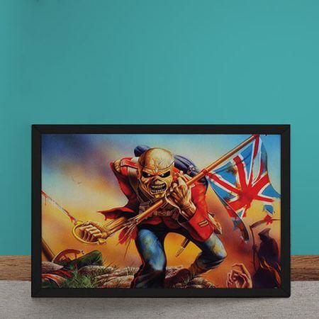 Quadro Decorativo Iron Maiden Ed Hunter Bandeira da Inglaterra