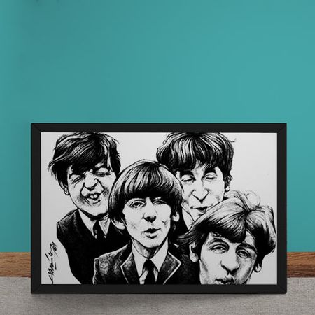 Quadro Decorativo Beatles Caricatura