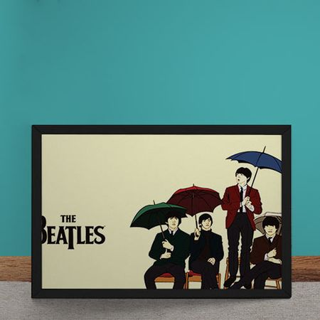 Quadro Decorativo Beatles Ilustracao Guarda Chuva