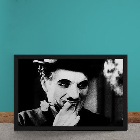 Quadro Decorativo Charles Chaplin Rosa Tempos Modernos