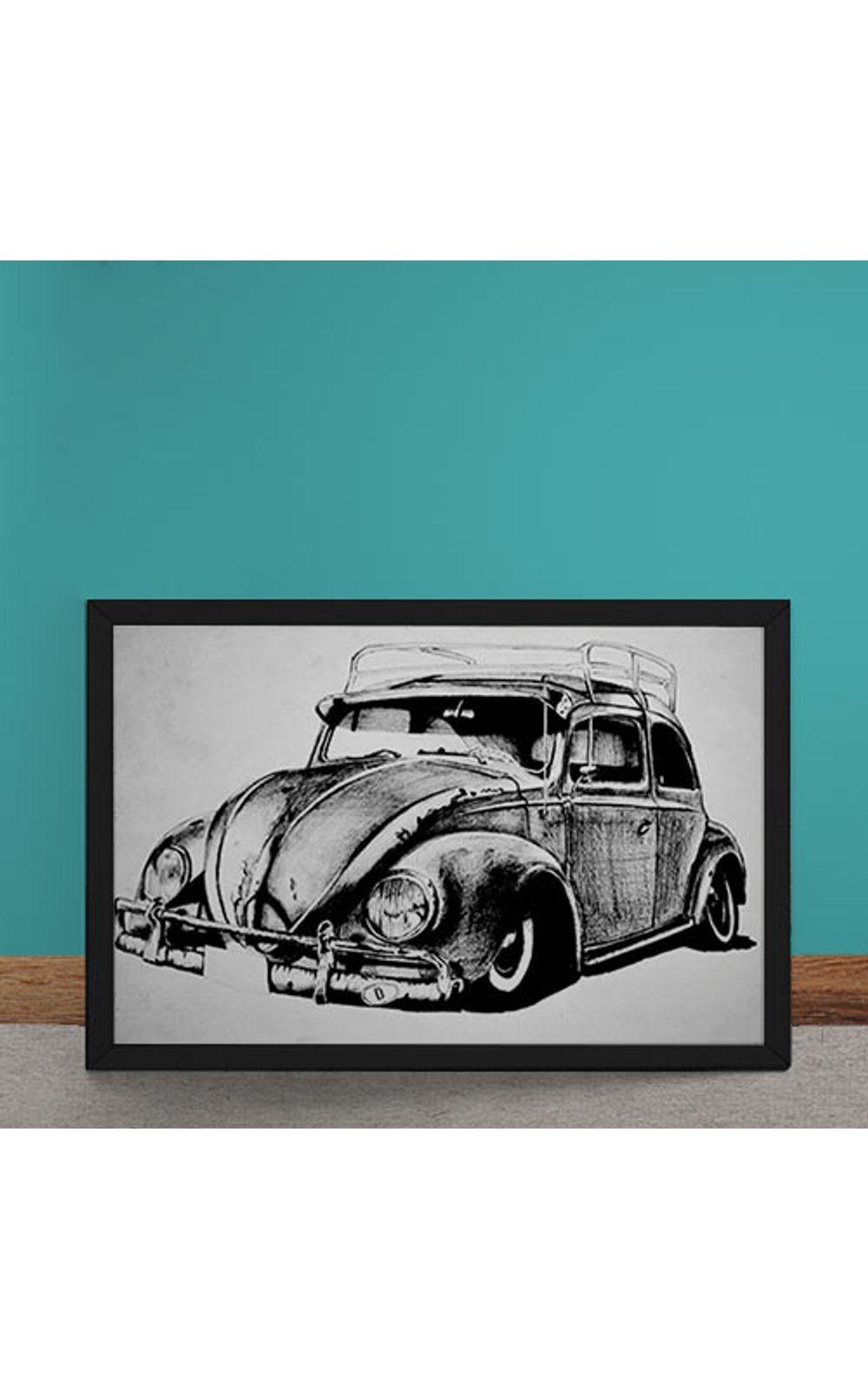 Foto 1 - Quadro Decorativo Carro Volkswagen Fusca Ilustracao