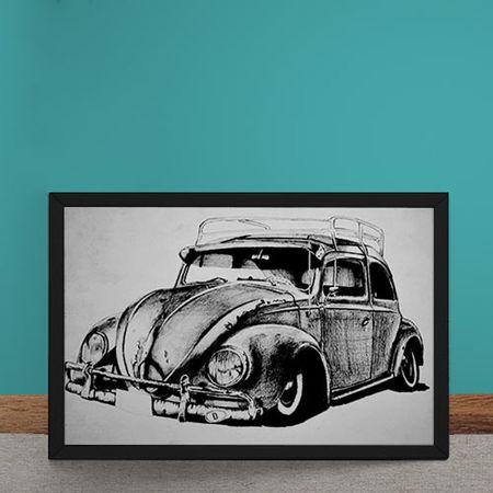 Quadro Decorativo Carro Volkswagen Fusca Ilustracao