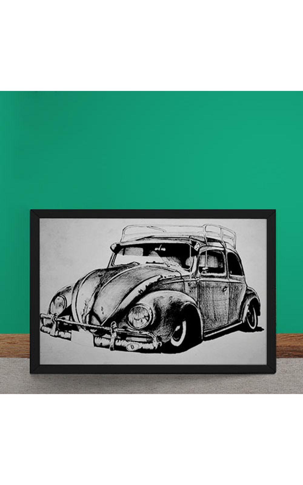 Foto 2 - Quadro Decorativo Carro Volkswagen Fusca Ilustracao