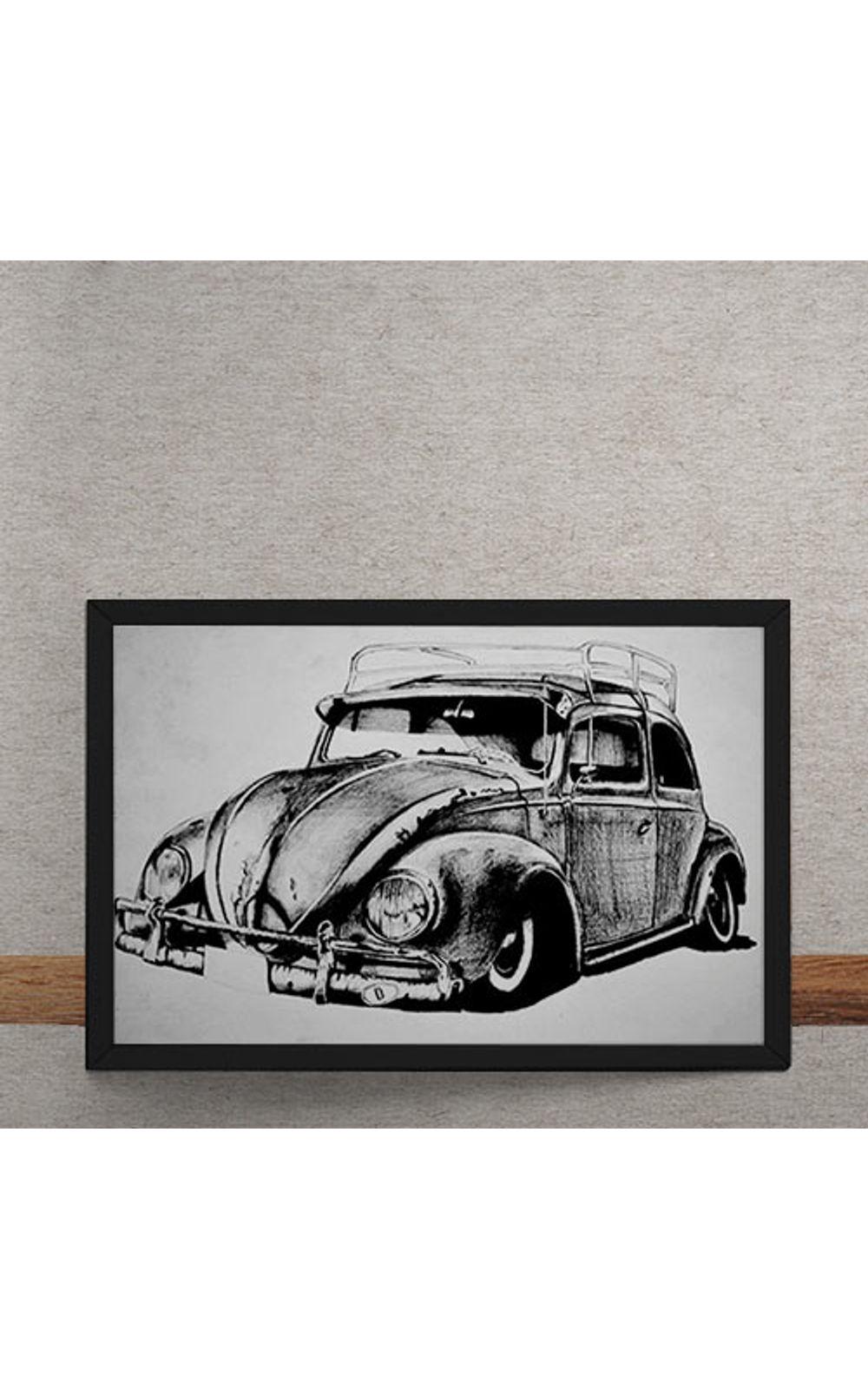 Foto 3 - Quadro Decorativo Carro Volkswagen Fusca Ilustracao