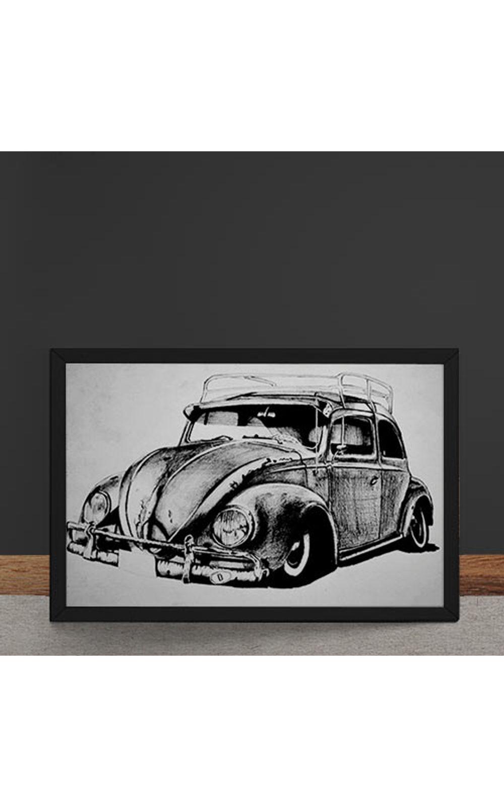 Foto 4 - Quadro Decorativo Carro Volkswagen Fusca Ilustracao