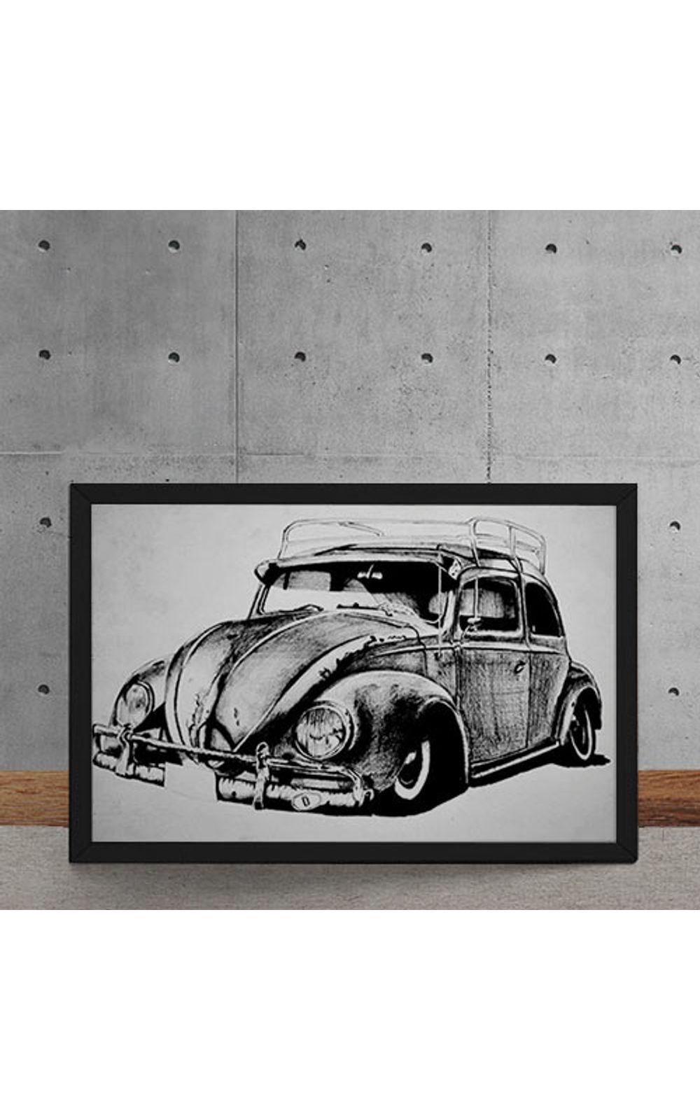 Foto 5 - Quadro Decorativo Carro Volkswagen Fusca Ilustracao