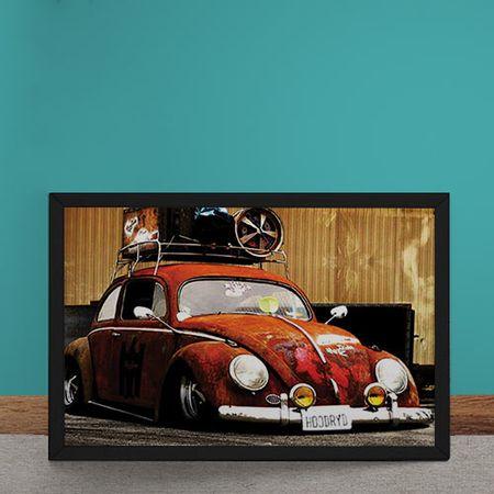 Quadro Decorativo Carro Volkswagen Fusca Vermelho Rebaixado
