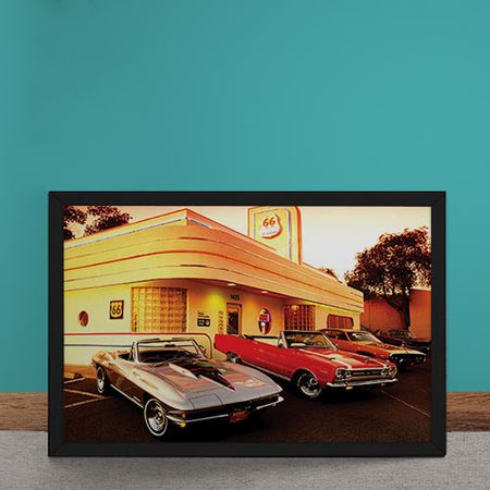 Quadro Decorativo Muscle Cars Rota 66