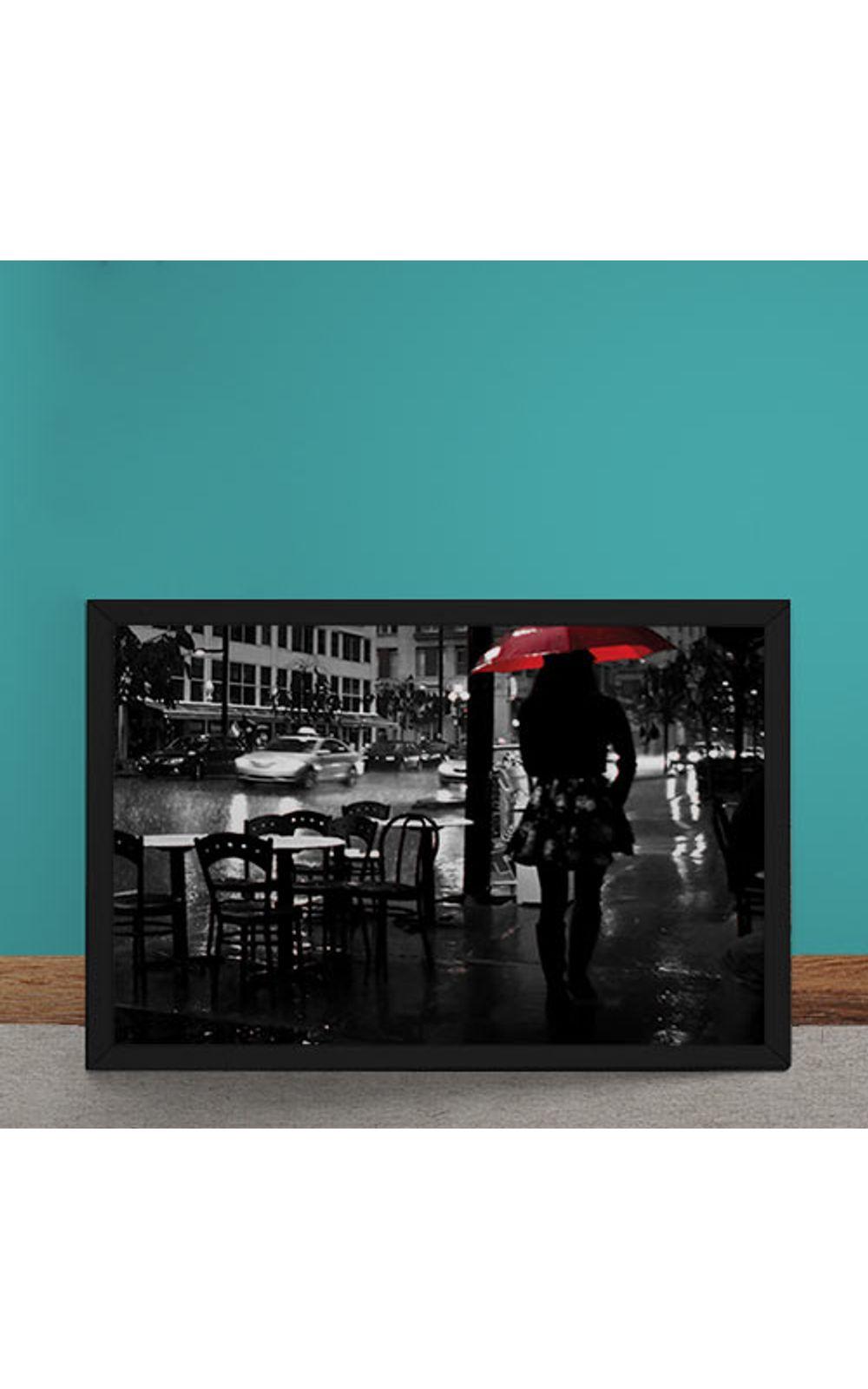Foto 1 - Quadro Decorativo Noite Chuvosa Guarda Chuva Vermelho