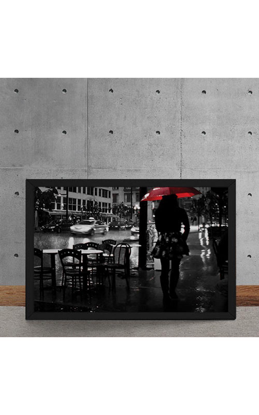 Foto 5 - Quadro Decorativo Noite Chuvosa Guarda Chuva Vermelho
