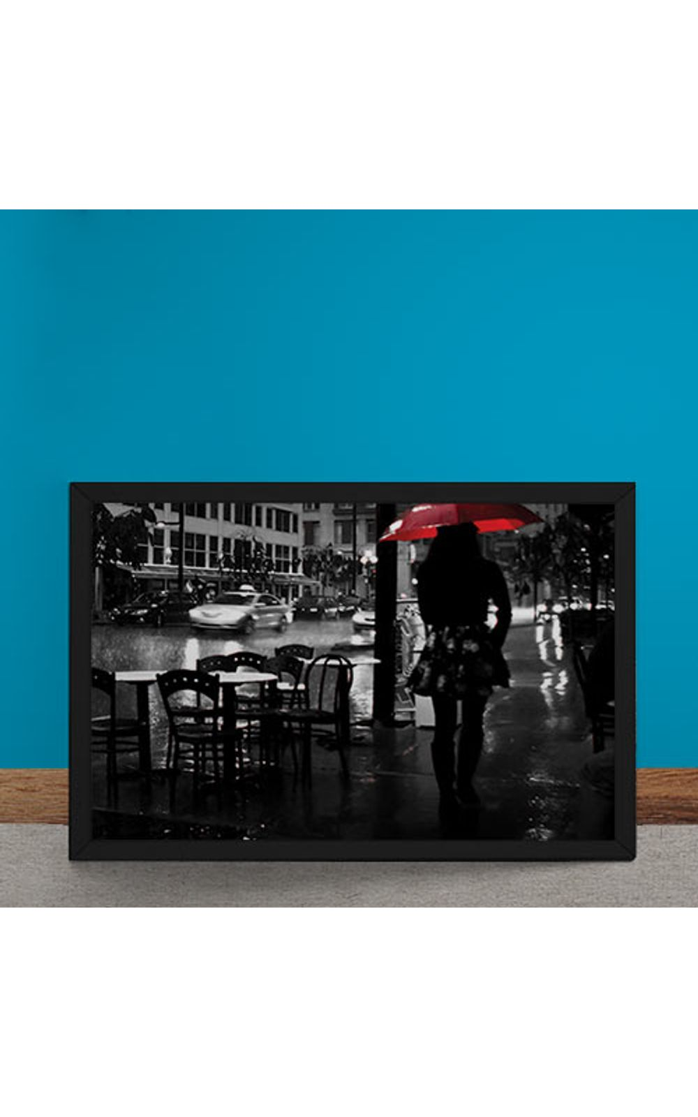 Foto 6 - Quadro Decorativo Noite Chuvosa Guarda Chuva Vermelho