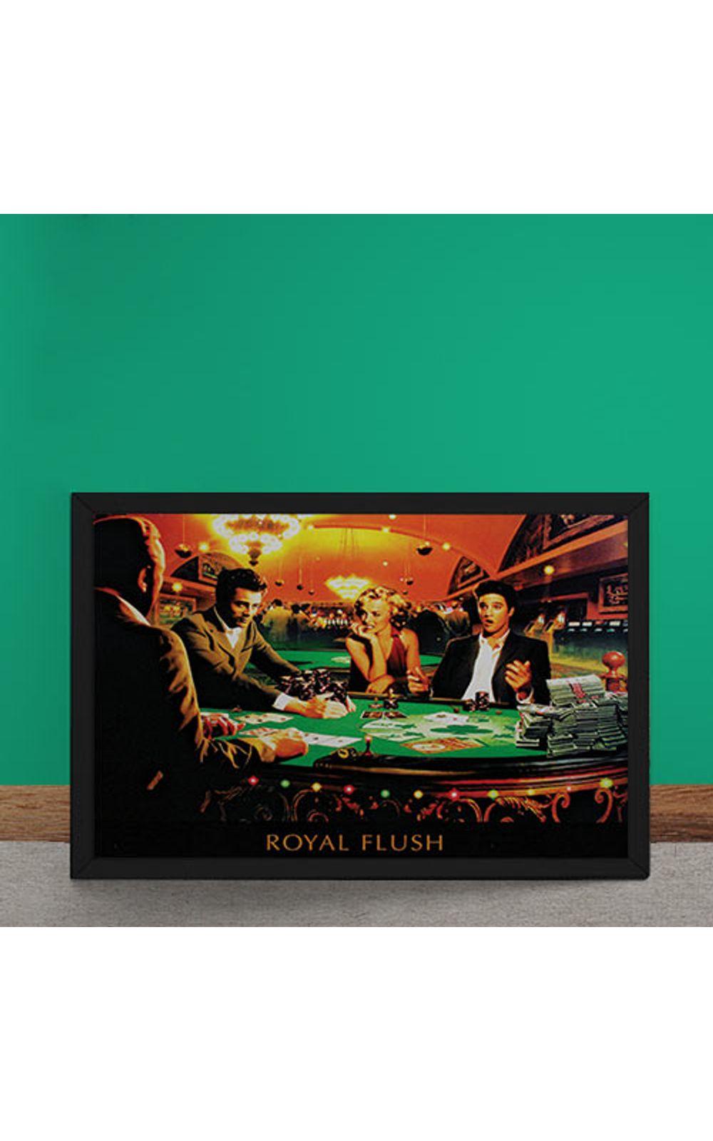 Foto 2 - Quadro Decorativo Poker Royal Flush Marylin Monroe Elvis Presley James Dean Humphrey Bogart