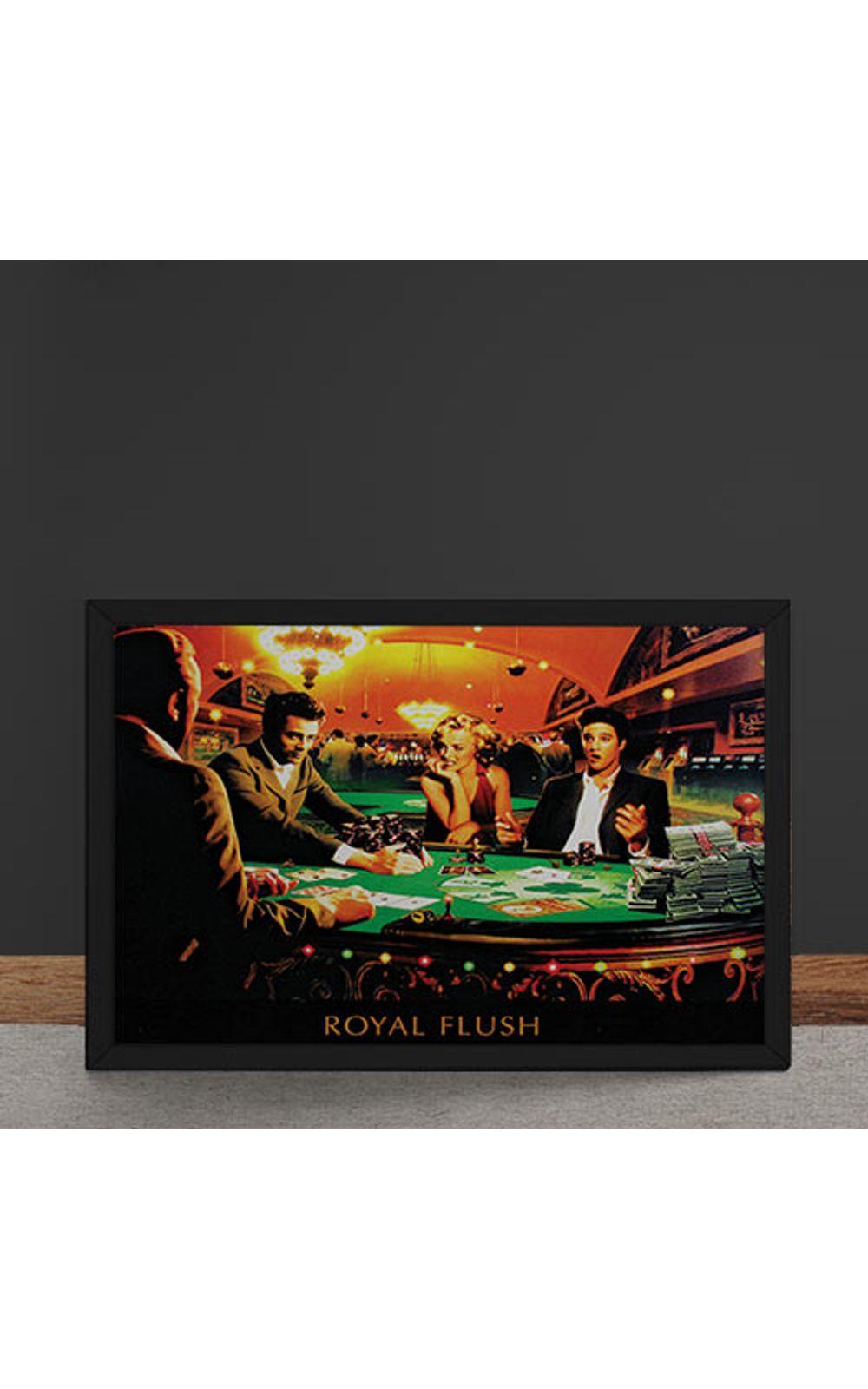 Foto 4 - Quadro Decorativo Poker Royal Flush Marylin Monroe Elvis Presley James Dean Humphrey Bogart